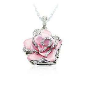 Light Pink Crystal Rose Necklace Style 8GB USB Flash Drive