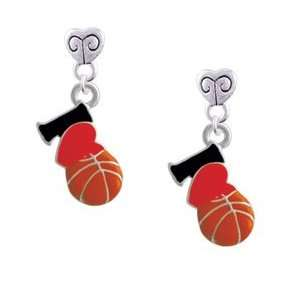 I Love Basketball   Red Heart   Silver Plated Mini Heart