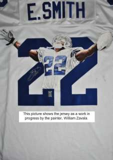 EMMITT SMITH SIGNED HAND PAINTED JERSEY EMMITT HOLO & PSA/DNA #Q41218
