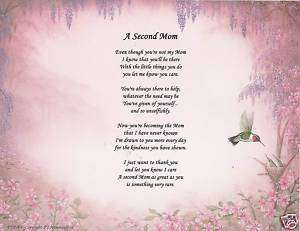 Second Mom Poem Prayer Hummingbird Print Personalized