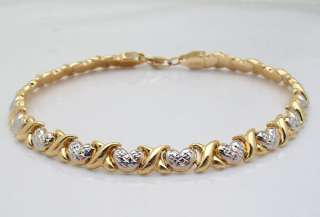 9gr Diamond Cut Heart & Kisses Bracelet 14K Yellow White Two Tone