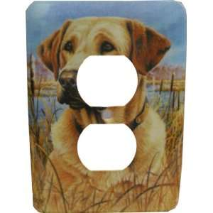 Yellow Lab Labrador Retriever Dog Metal Outlet Cover