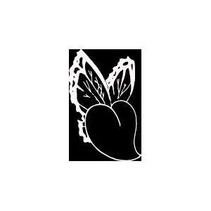HRT (415) 6 white vinyl decal butterfly wings heart die