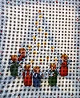 Needlepoint canvas Christmas Tree & Small Angels
