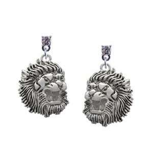 Large Lion   Mascot Clear Swarovski Post Charm Earrings