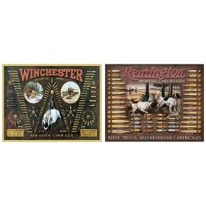 Bullet Board Tin Metal Sign Bundle   2 retro signs Winchester Bullet