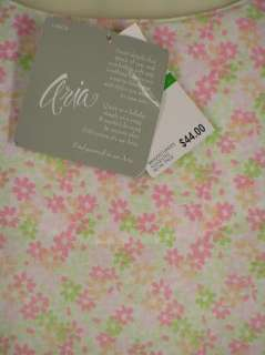 Aria Pink Flowers Cap Sleeve Knee Nightgown NEW Tag $44