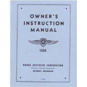 1934 DODGE Car Full Line Owners Manual User Guide