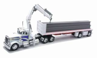 PETERBILT 379 FLATBED TRAILER W/ I BEAM & CRANE 1/32 DIECAST MODEL TOY