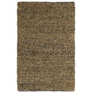 Short Brown Leather Shag 5x8 Rug with