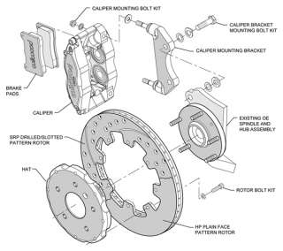 WILWOOD DISC BRAKE KIT,FRONT,AUDI,VOLKSWAGEN,BLACK CALIPERS,12