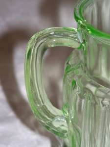 Vintage Green Depression Hocking Glass Pitcher Pillar Optic/Log Cabin