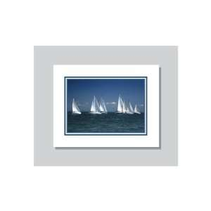 White Sail Boats Custom Designed Stationery Note Cards 8 Notecards Per