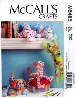 Pattern M6485 Stuffed Animals hippo cat dog horse frog 6485 sewing