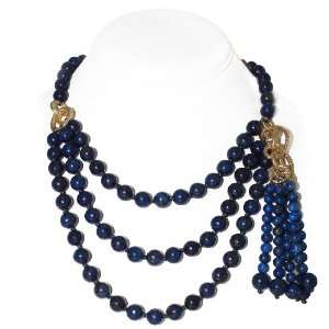 layer Round Navy Blue Lapis Bead Necklace (10mm) [Jewelry] Jewelry