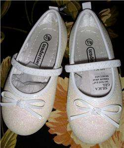 Lil Girls White Sparkle Dress Shoes Slippers NWT Fancy