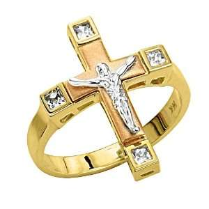 14K 3 Tri color Gold Religious Jesus Cross Crucifix Fashion CZ Cubic