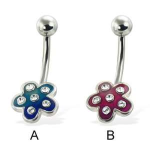 Colored 5 petal flower belly button ring with gems, blue