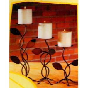 Climbing Leaves Candle Holders [Set of 3] Wrought Iron