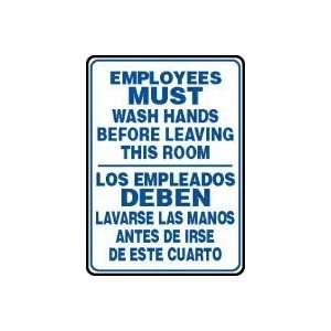 EMPLOYEES MUST WASH HANDS BEFORE LEAVING THIS ROOM (BILINGUAL) Sign