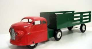 Wyandotte STAKE TRUCK/EXPRESS TRACTOR TRAILER~Pressed Steel Wheels