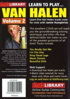 LICK LIBRARY LEARN TO PLAY VAN HALEN VOLUME 2 DVD SET