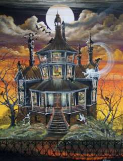 Folk Art Halloween October Haunted House Ghosts Witch