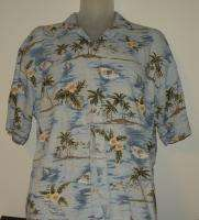 BEAN LARGE HAWAIIAN SHIRT TROPICAL FISHING BOATING Free S&H