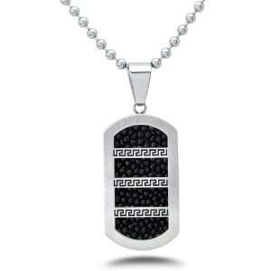 Stainless Steel Stingray with Greek Key Design Dog Tag