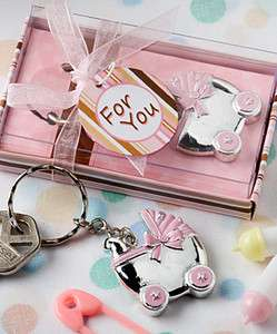 72   Pink Baby Carriage Design Key Chains Favors