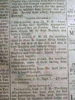 Civil War newspaper BATTLE of CHARLESTON HARBOR South Carolina