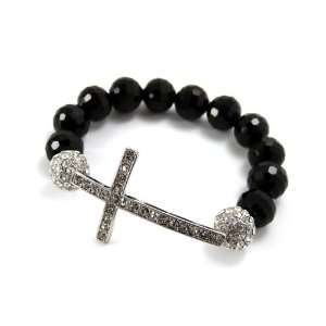 Faux Black Disco Ball & Cross Iced Out Stone Stretch Bracelet XHB119R