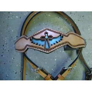 Mad Cow Leather Braided Rawhide Metallic Turquoise Cross Western Show