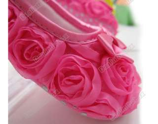 Pink Mary Jane Infant Baby Shoes Girls Toddler dress soft sole Rose