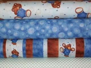 Quarter Bundle Lot Peek a Boo Teddy Bear Baby Boy Nursery Fabric FQS