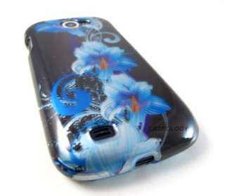 BLUE BLK FLOWERS HARD SHELL CASE COVER SAMSUNG EXHIBIT II 2 4G PHONE