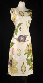 Vintage 50s Cream Silk Botanical Print Sheath Dress Green Purple
