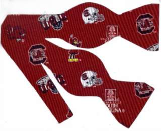 SELF TIE BOW TIE SOUTH CAROLINA GAMECOCKS (ICONS ON RED)