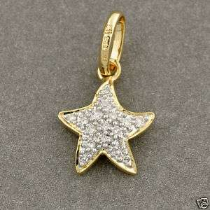 14K Solid Yellow Gold Diamond Sea Star Charm Pendant
