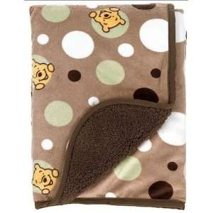Disney Peekaboo Pooh Sherpa Baby Blanket Two sided Velour