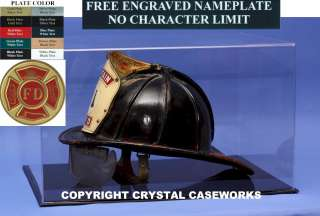 FIREFIGHTER FIRE FIGHTER HELMET DISPLAY CASE ENGRAVED