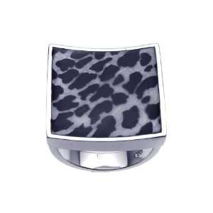 Sterling Silver Square Animal Print Ring Size 6 Jewelry