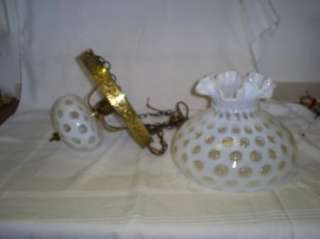 Vintage Fenton Glass White Coin Dot Hanging Lamp