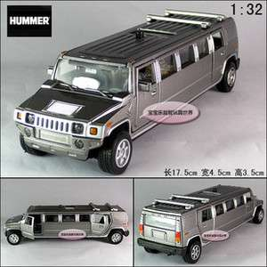 New Hummer 138 Alloy Diecast Model Car With Sound&Light Silver B340