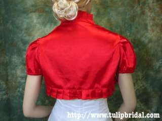 Red short sleeve satin bolero jacket shrug Small