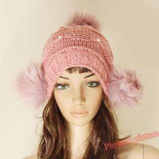 New Cute Womens Warm Winter Beret Braided Baggy Beanie Crochet Hat