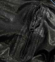 NWT AMERICAN EAGLE MENS LARGE BLACK LEATHER BOMBER JACKET COAT AE L