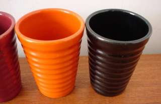 BAUER POTTERY RING WARE TUMBLERS 12 0Z BLUE BLACK RED MAROON