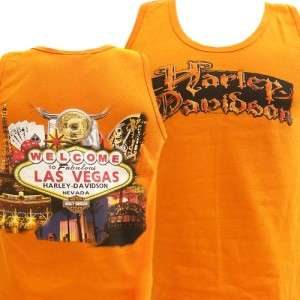 Davidson Las Vegas Dealer T Shirt Tank Top ORANGE MEDIUM #RKS