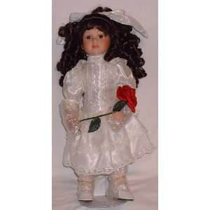 Satin & Lace Dress with Red Rose & White Bow Hair Piece Toys & Games